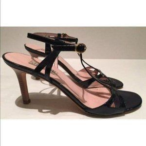 Isaac Mizrahi Patent Leather T-Strap Leather Sole